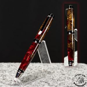 Maple Burl with Red on Platinum -The Waba Pen-