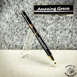 African Ebony on 24k Gold White Enamel Inlay -Amazing Grace-